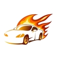 Modern luxury sporty coupe with burning flames vector image