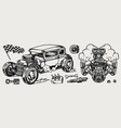 retro custom car and parts composition vector image