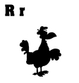 Rooster cartoon with letter vector image vector image