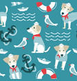 sailor terrier dog seamless pattern vector image