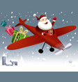 Santa Claus flying in plane vector image vector image