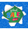 school sale design with hole in paper vector image vector image