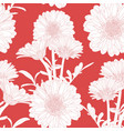 seamless pattern with hand drawn gerbera flowers vector image vector image