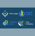 set logo presented in flat design style on blue vector image