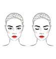 set of beautiful woman with bun hairstyle and vector image