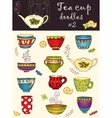 set of doodle tea cup Series of doodles vector image vector image