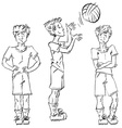 Set of full-length hand-drawn Caucasian teens vector image vector image