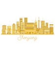 shenyang china city skyline golden silhouette vector image