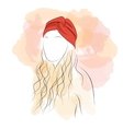 Silhouette woman with hair turban vector image