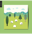 simple things - landscape with sheep and hills vector image