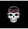 skull in helmet biker theme design template vector image vector image