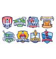 soccer badges design set vector image vector image