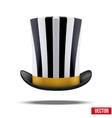 Striped big gentleman hat cylinder vector image vector image