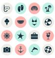 summer icons set collection of trees sea star vector image vector image