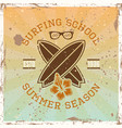 surfing school colored vintage emblem vector image vector image
