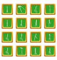 surgeons tools icons set green square vector image vector image