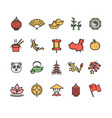 symbol china color thin line icon set vector image