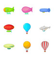 types of airship icons set cartoon style vector image vector image