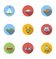 Vehicle icons set flat style vector image vector image