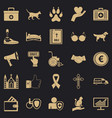 welfare icons set simple style vector image vector image