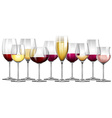 Wine glasses filled with red and white wine vector image vector image