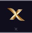 x letter logo monogram volume gold vector image vector image