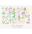 Flat Fruits Vegetables Icons Color vector image