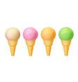 set of ice cream in waffle cones realistic vector image