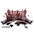 landmarks from around world in grunge style vector image