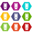 advertising signs icon set color hexahedron vector image vector image