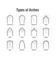 architectural types of arches icons vector image vector image