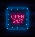 beautiful neon inscription open vector image vector image