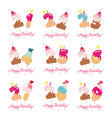 birthday cards set festive sweet numbers from 21 vector image vector image
