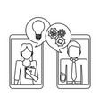 business people and smartphone black and white vector image vector image