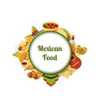 cartoon mexican food elements with place vector image