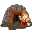 Cartoon mine entrance with gold miner holding shov vector image