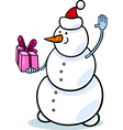christmas snowman cartoon vector image vector image