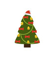 christmas tree icon decorated by bows golden bell vector image
