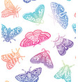 colorful moths seamless pattern decorative hand vector image vector image