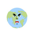 earth angry emoji planet aggressive emotion vector image vector image