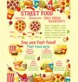 fast food street food snacks poster vector image vector image