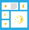 flat icon midnight set of bedtime nighttime moon vector image
