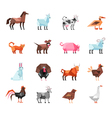 Geometric Farm Animals Set vector image vector image