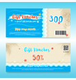 gift voucher or gift card in summer theme with vector image