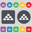Gold Icon sign A set of 12 colored buttons Flat vector image vector image