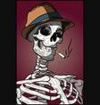 halloween spooky skull with hipster hat vector image vector image