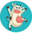 happy cheerful cow jumping for joy character vector image