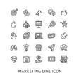 inbound marketing black thin line icon set vector image