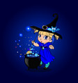 kawaii baby girl witch with broomstick and vector image vector image