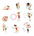 Little Girls Doing Gymnastics And Acrobatics vector image